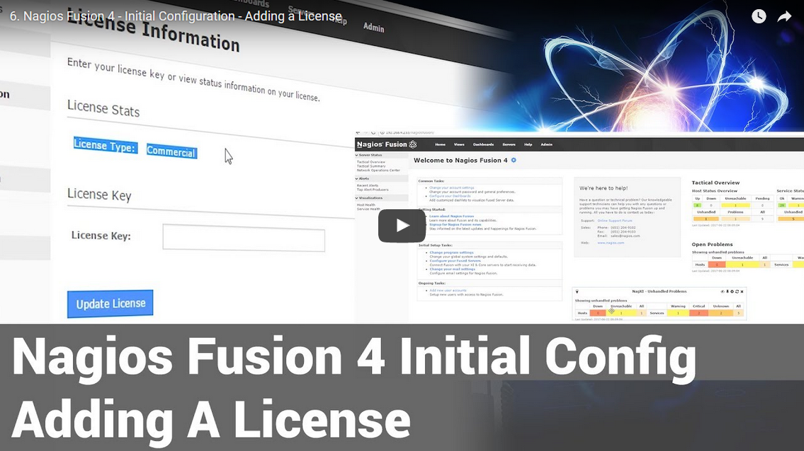 nagios fusion 4  u2013 initial configuration  u2013 adding a license